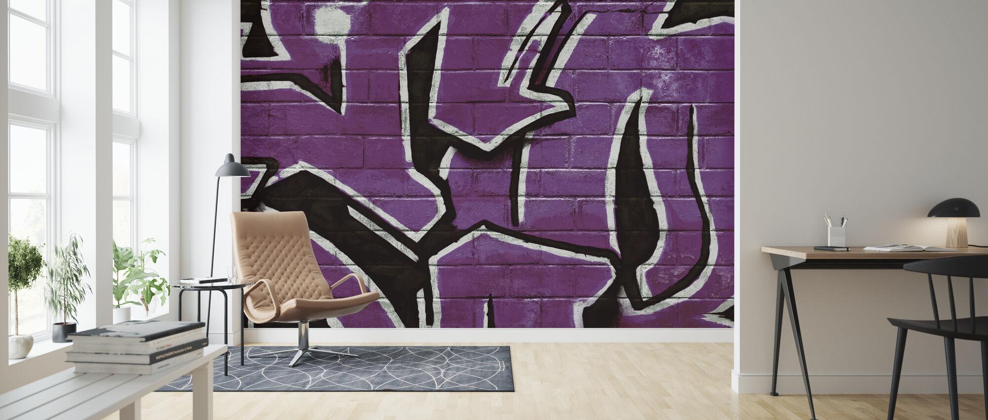 Graffiti Tiiliseinä - Violetti - Tapetti - Olohuone