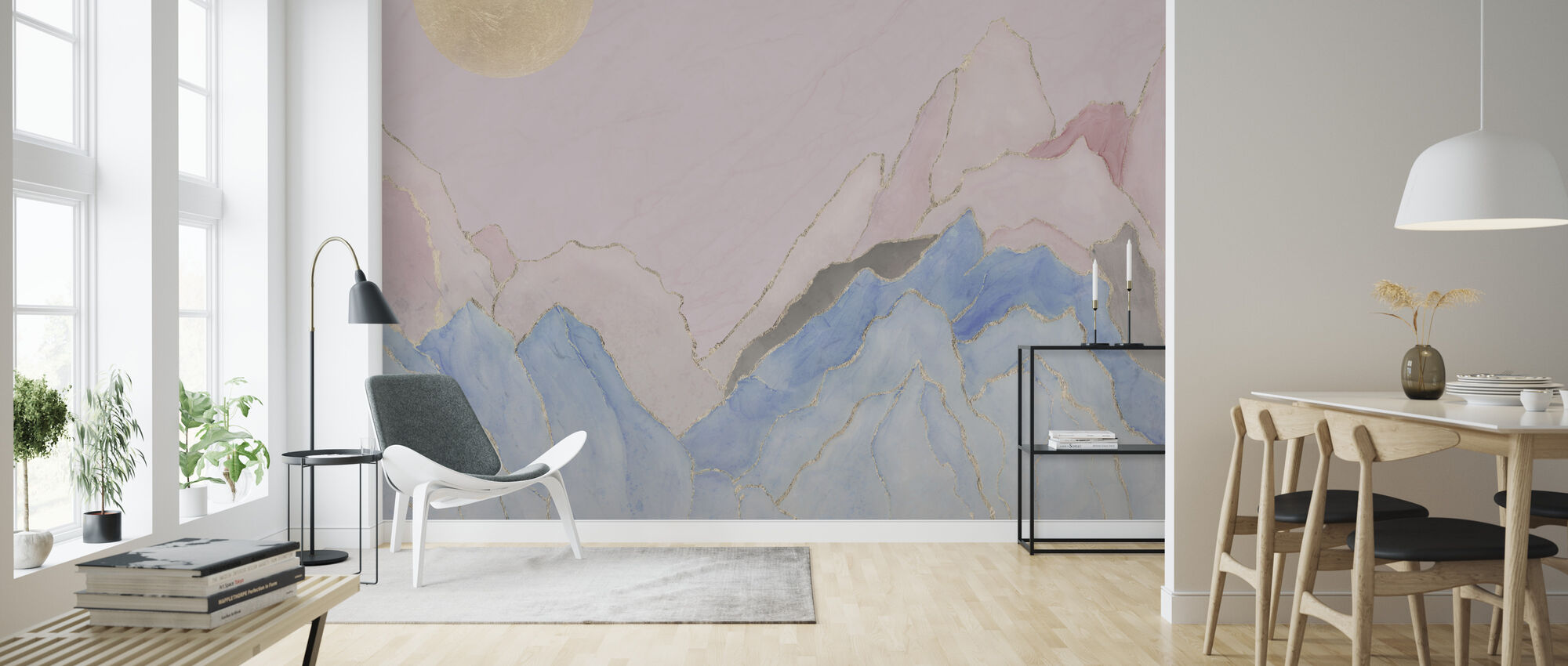 Angularity - Pink - Wallpaper - Living Room