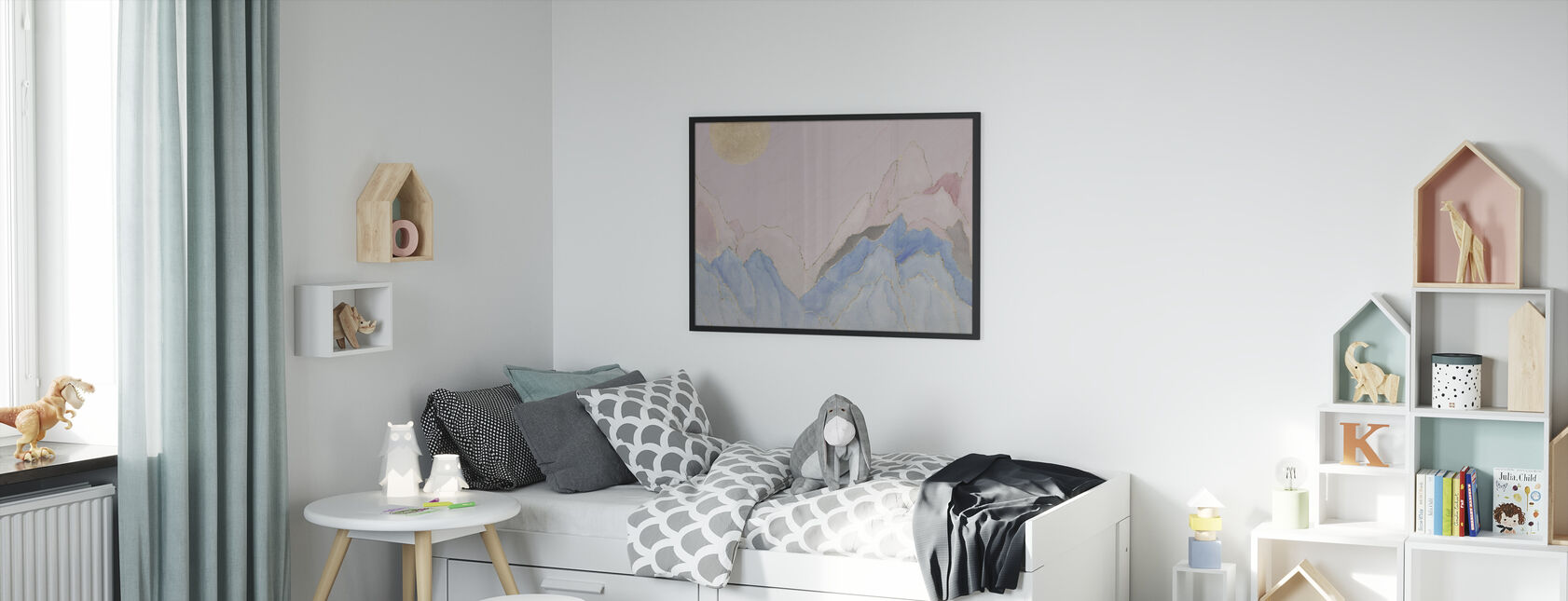 Angularity - Pink - Framed print - Kids Room