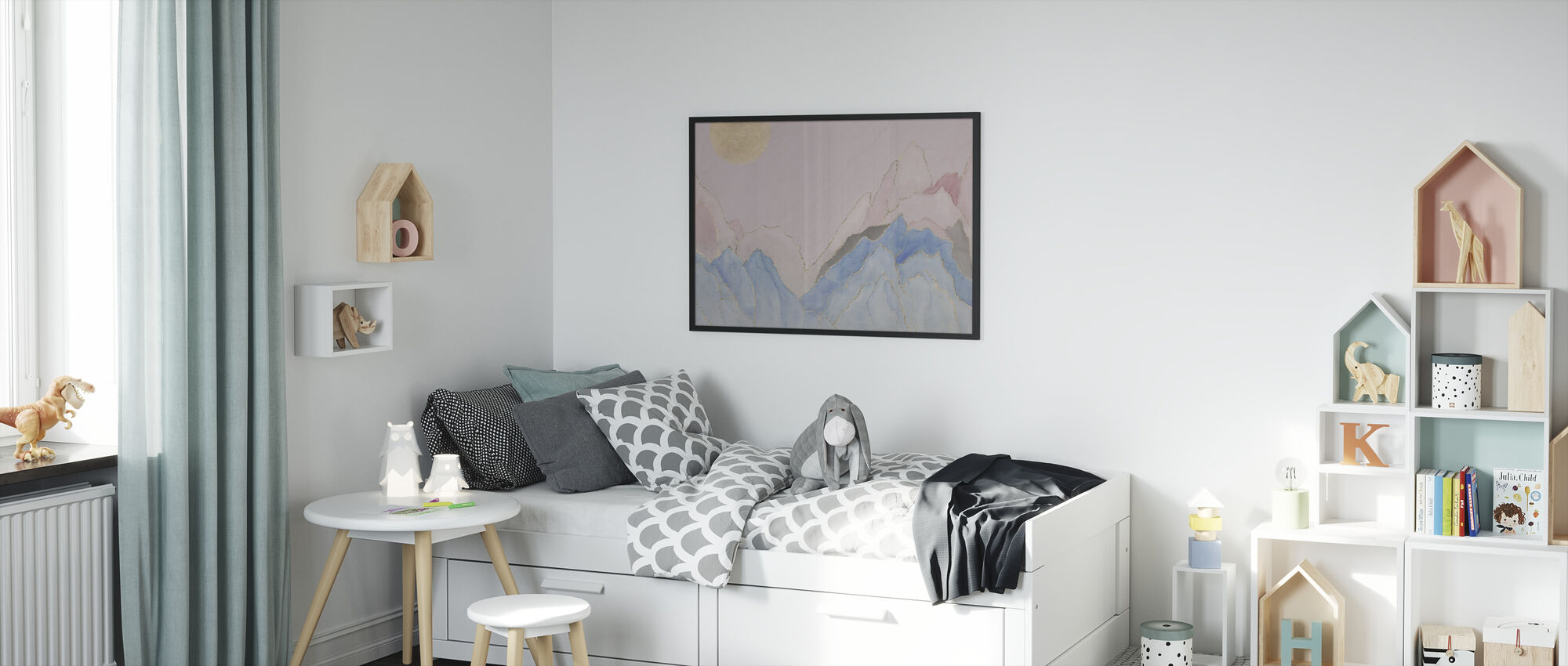 Angularity - Pink - Framed print - Kids Room