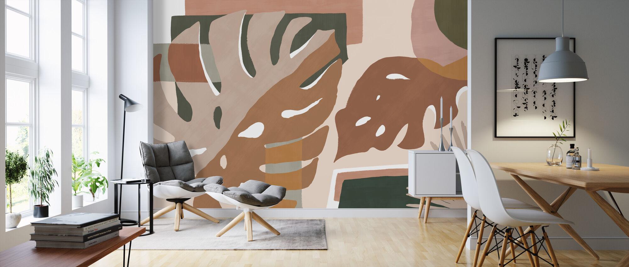 Monstera Amazonica - Peach - Wallpaper - Living Room