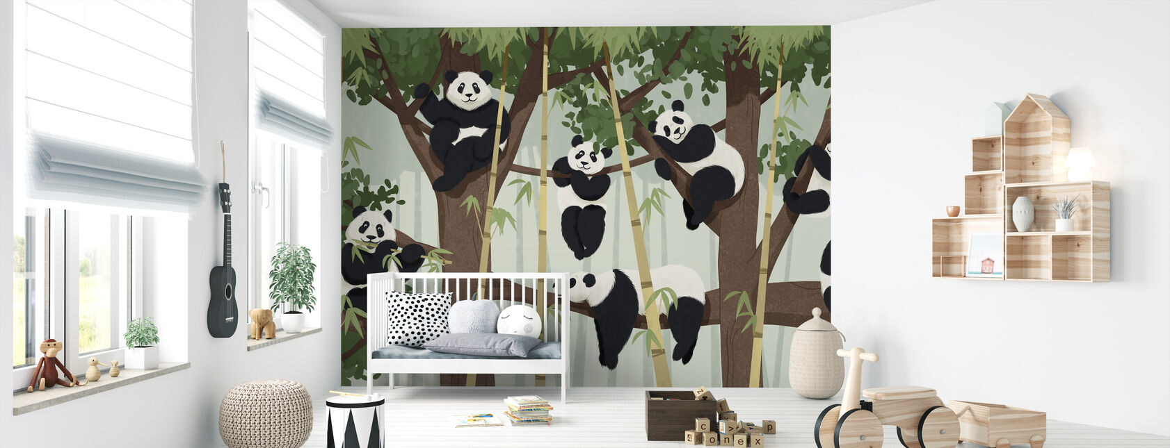 Panda Trees - Wallpaper - Nursery