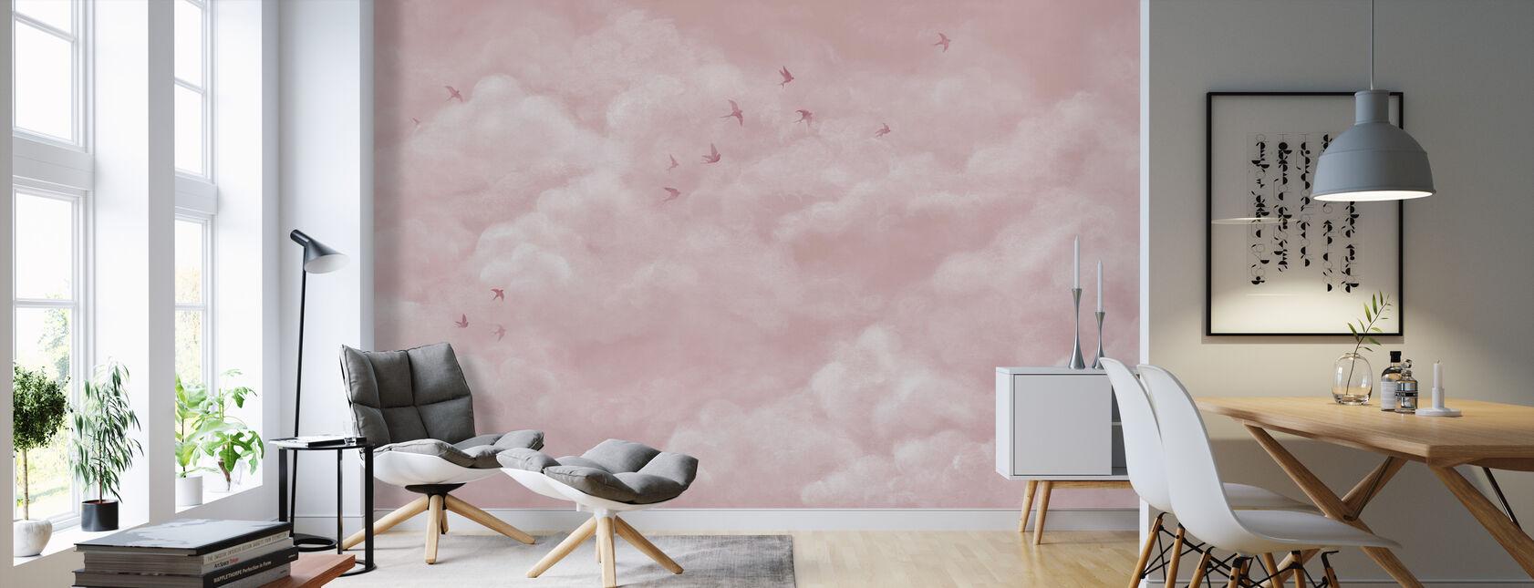 Tender skyer med svaler - Pink - Tapet - Stue