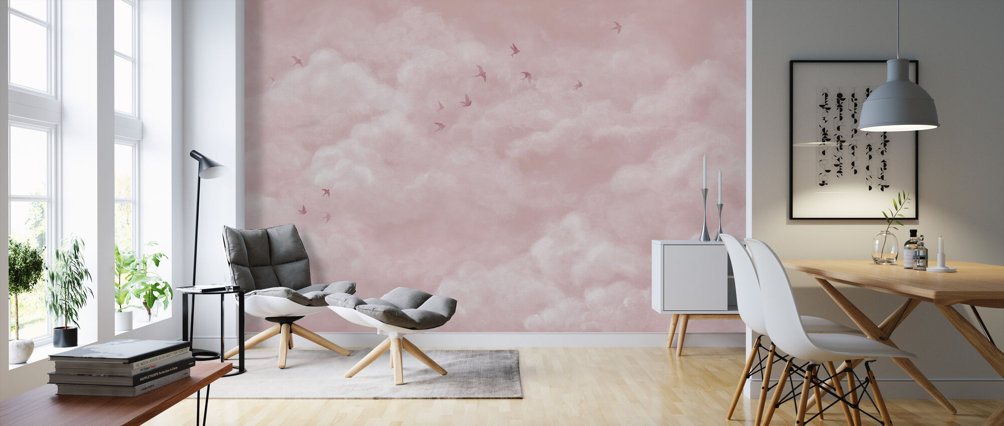 Tender Clouds with Swallows - Pink - Wallpaper - Living Room