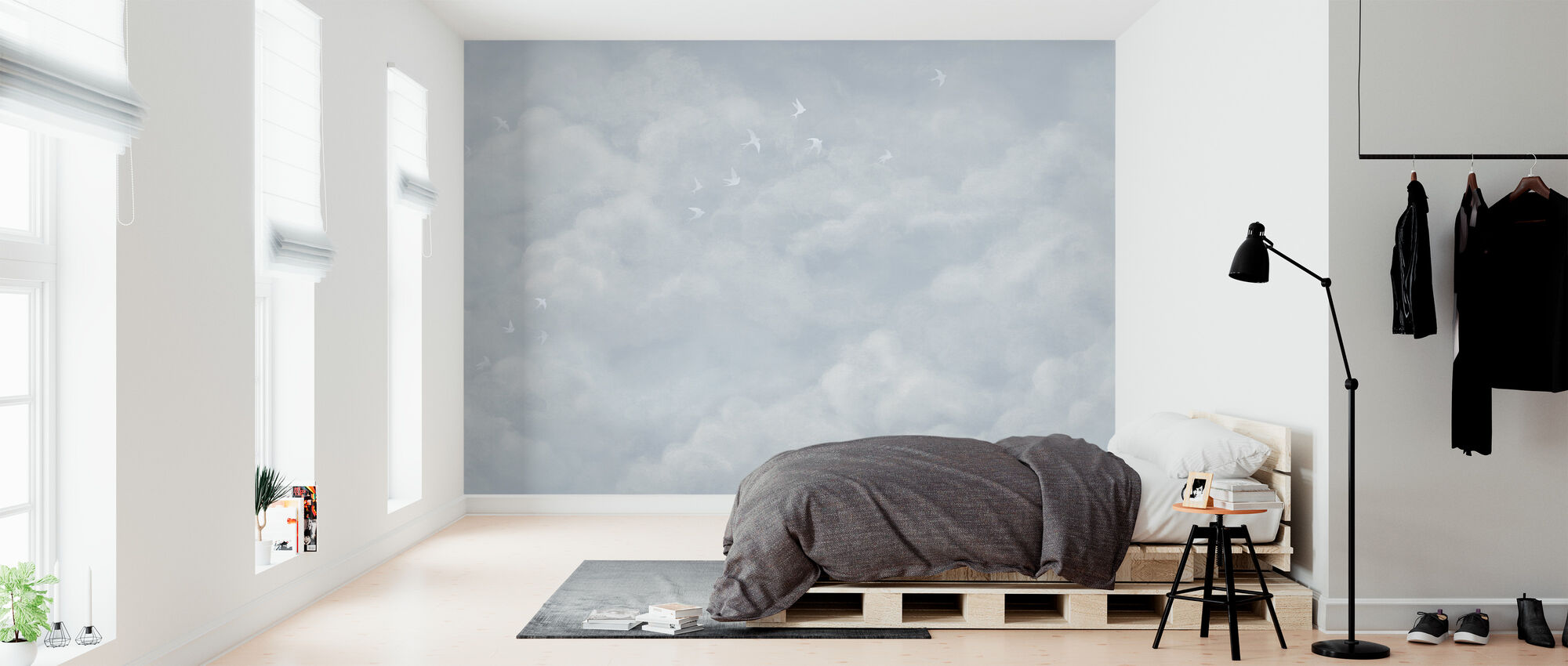 Tender Clouds with White Swallows - Soft Blue - Wallpaper - Bedroom