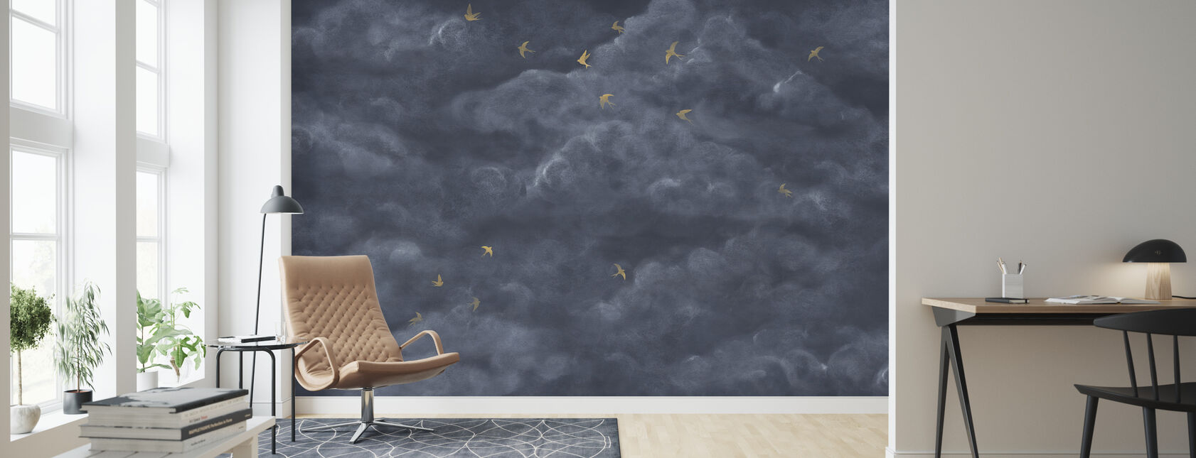 Tender Clouds with Yellow Swallows - Dark Blue - Wallpaper - Living Room