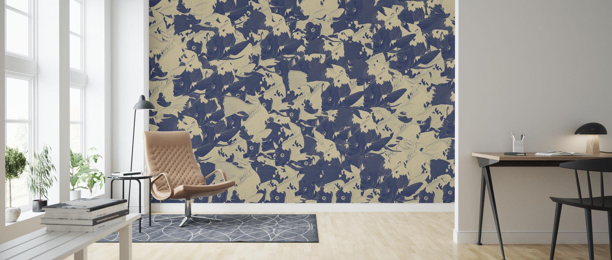 Goldstein Kanagawa - Indigo - Wallpaper - Living Room