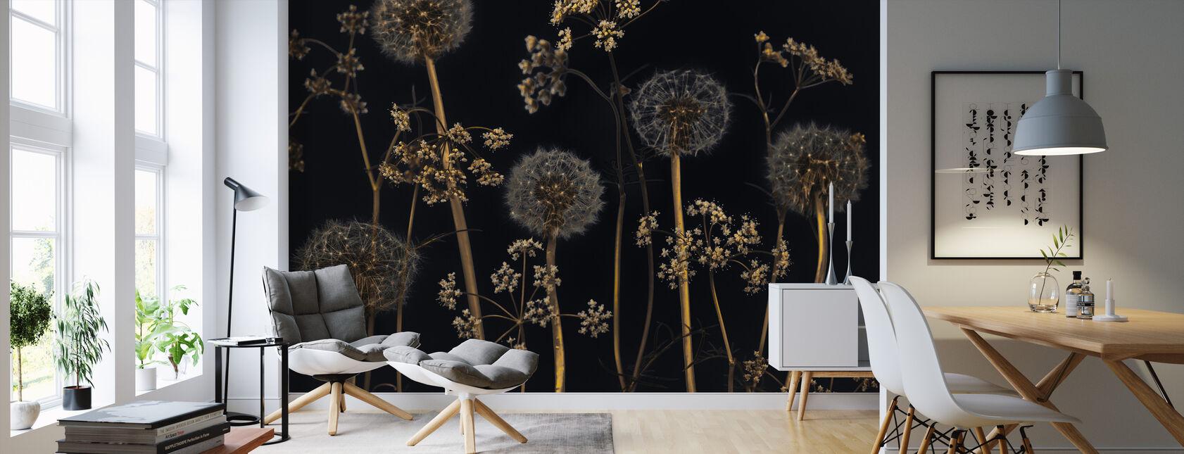 Weide Bloemen - Zwart - Behang - Woonkamer
