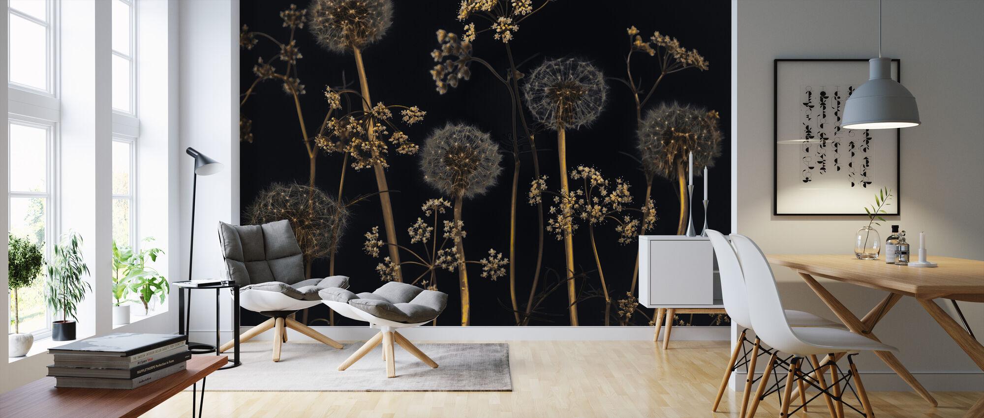 Meadow Flowers - Black - Wallpaper - Living Room