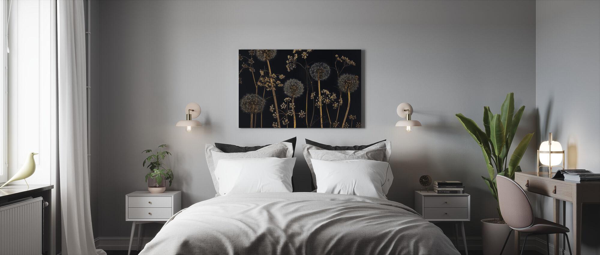 Weide Bloemen - Zwart - Canvas print - Slaapkamer