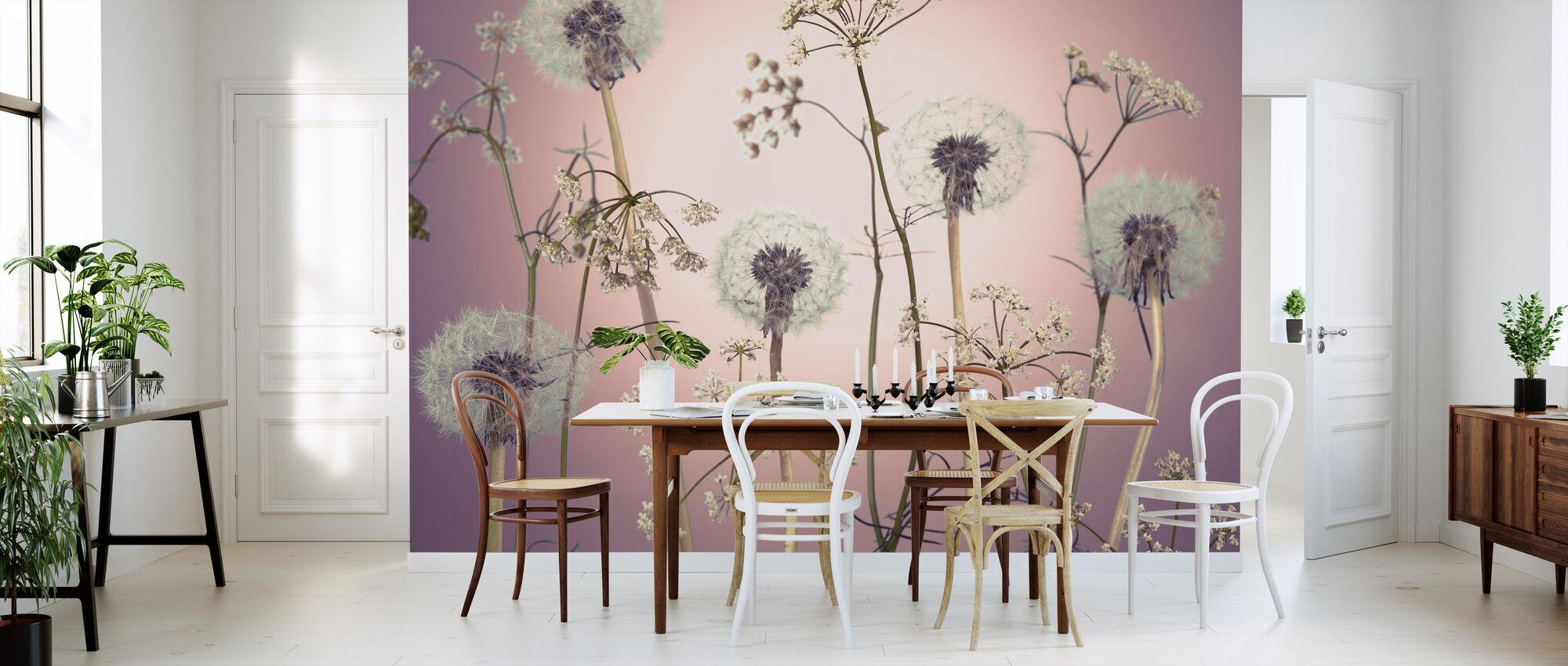 Weide Bloemen - Roze - Behang - Keuken