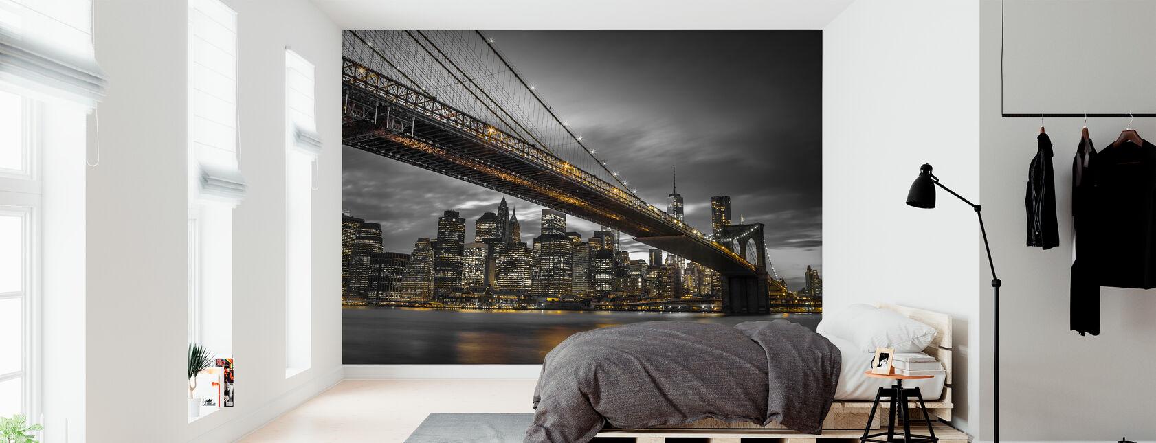 Puente de Brooklyn por la noche - Papel pintado - Dormitorio