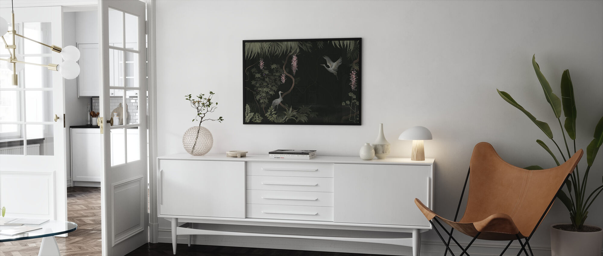 Tranquil Scenery - Dark Sage - Framed print - Living Room