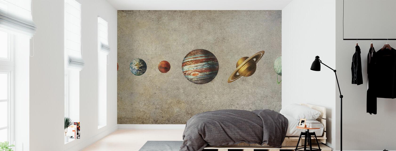 Solar System - Sepia - Wallpaper - Bedroom