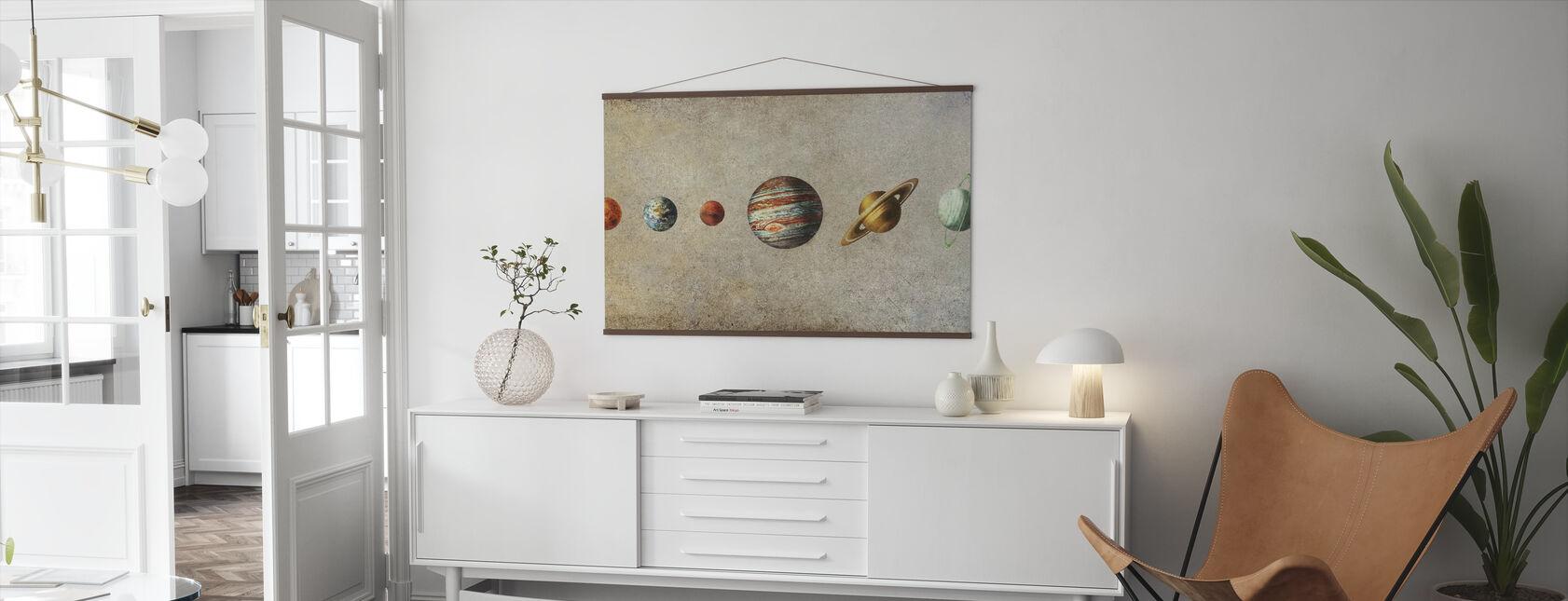 Zonnestelsel - Sepia - Poster - Woonkamer