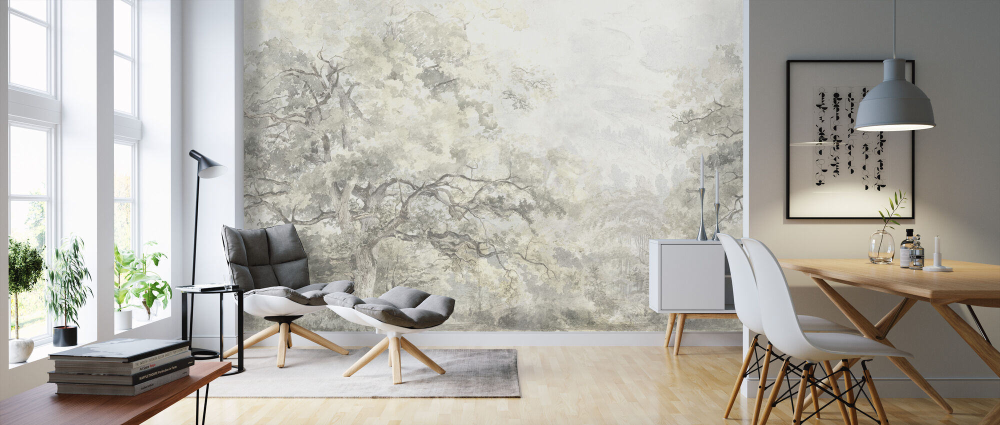 Beauty Everywhere - Yellow - Wallpaper - Living Room