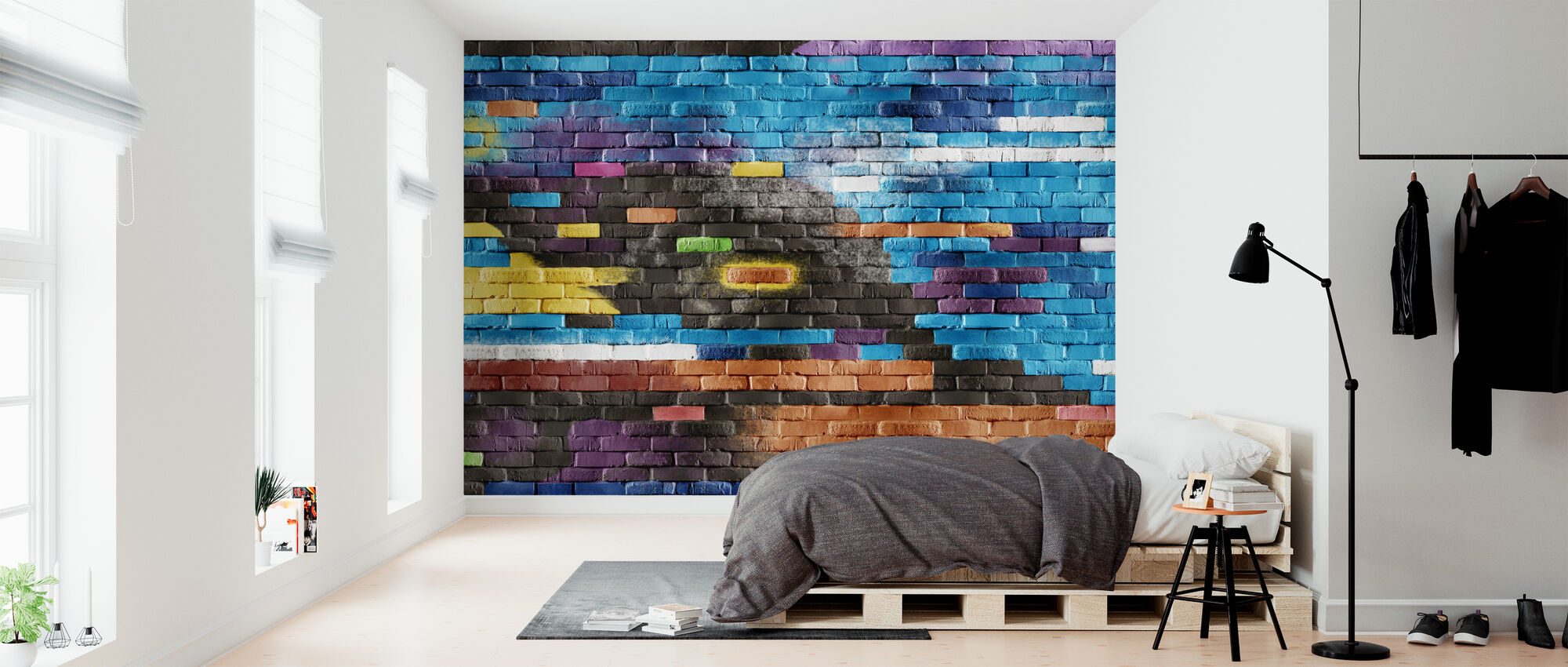 Colorful Brick Wall - Wallpaper - Bedroom