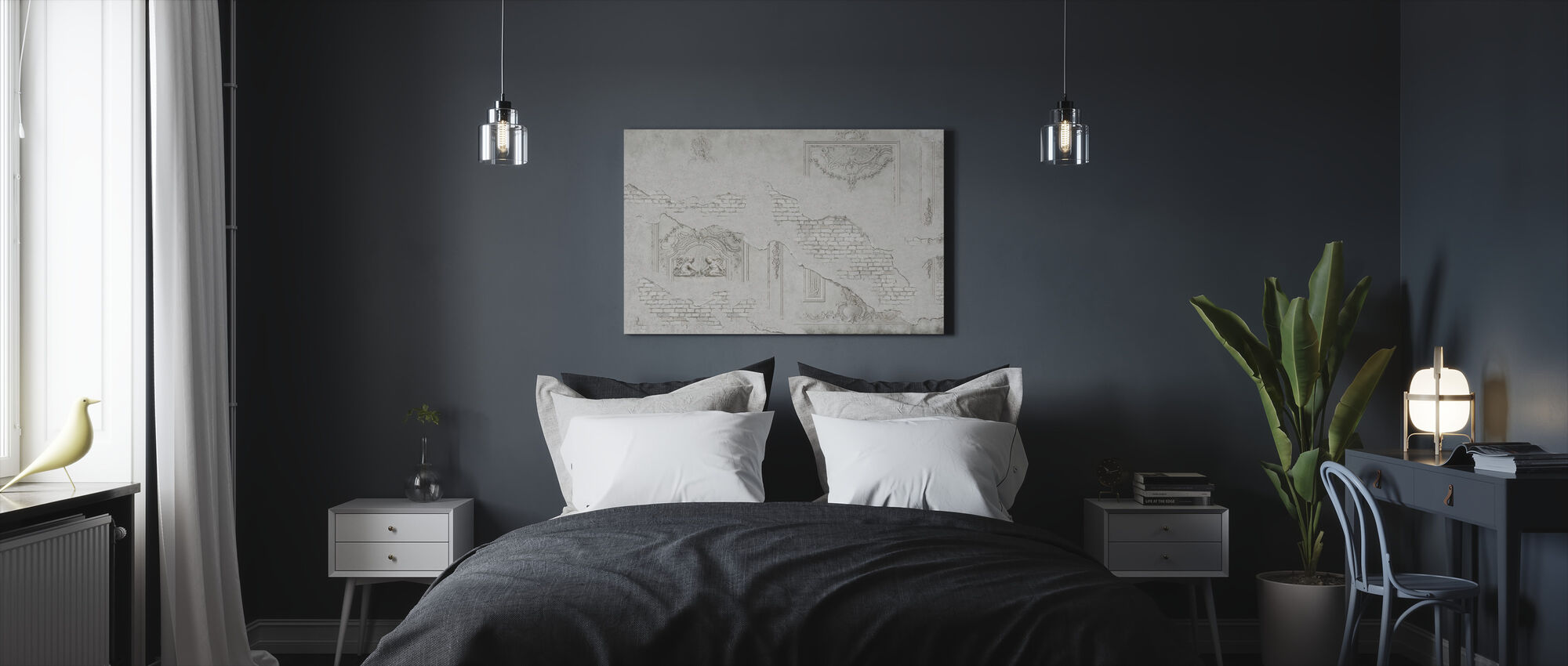 Cracked Plaster Ornament Brick Wall - Canvas print - Bedroom