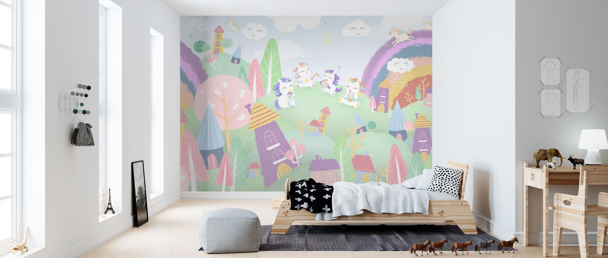 Unicorn Village - Wallpaper - Kids Room