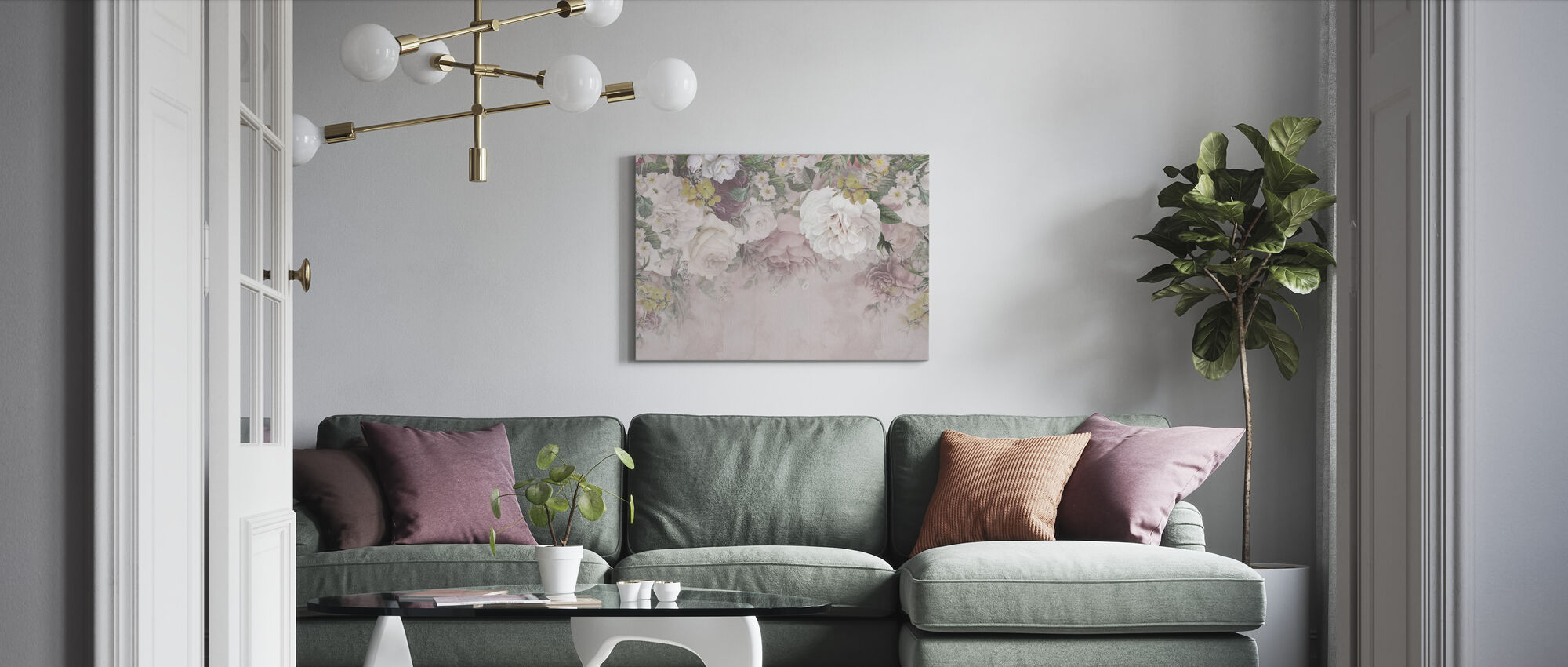 Gentle Flowers - Canvas print - Living Room