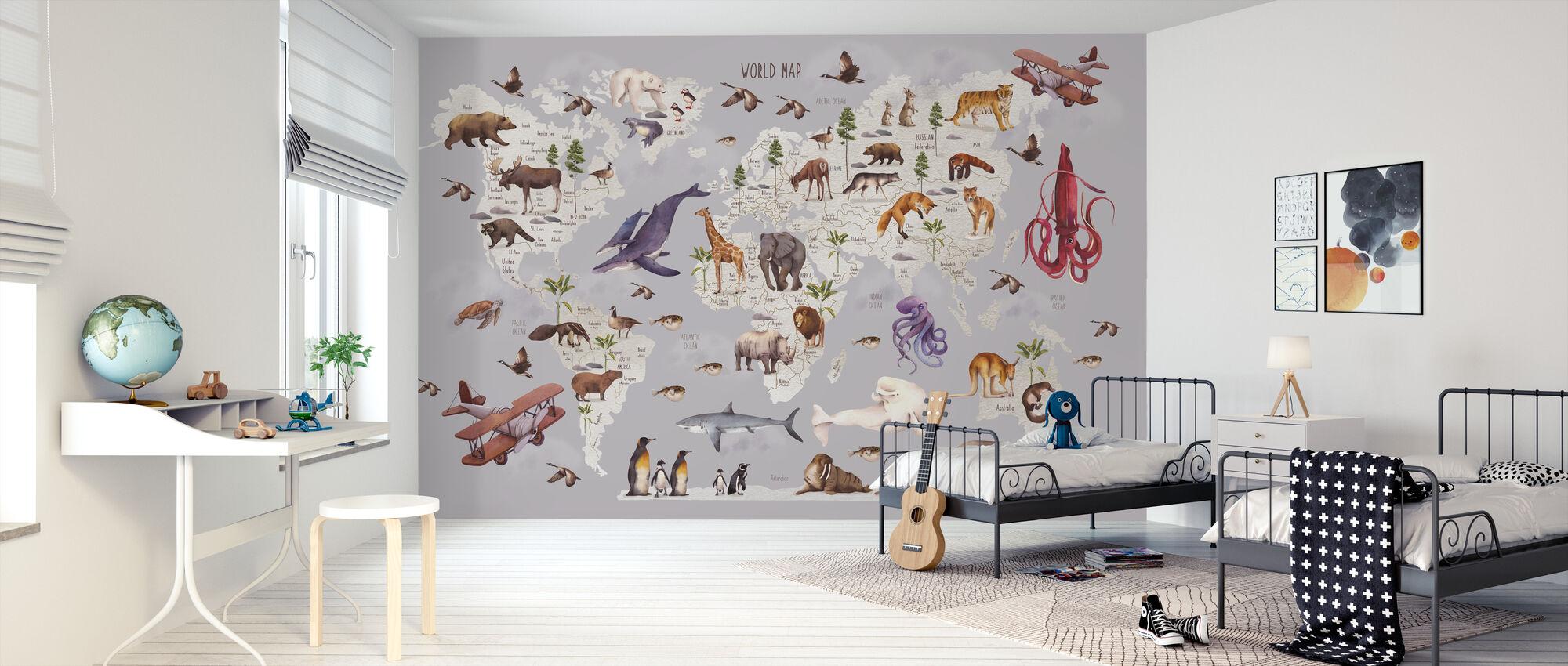 Animal World Map - Wallpaper - Kids Room
