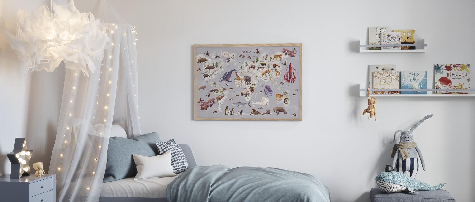 Animal World Map - Innrammet bilde - Barnerom