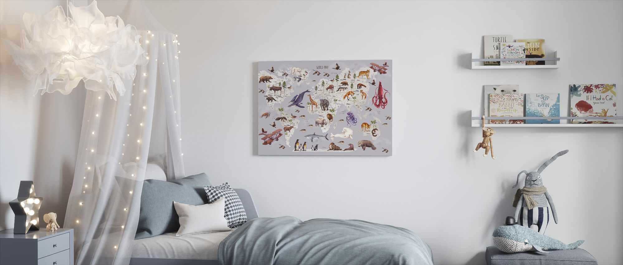 Animal World Map - Canvas print - Kids Room