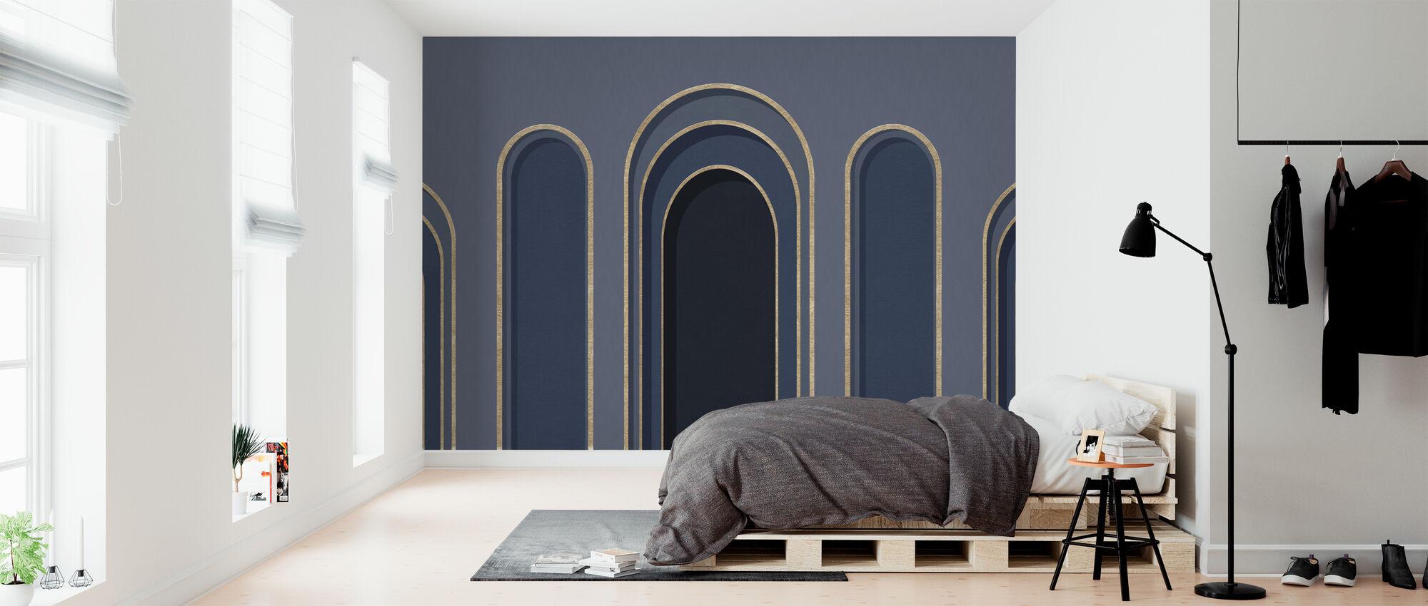 Ornamento per arco - Blu - Carta da parati - Camera da letto