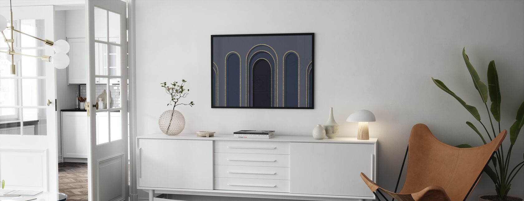 Arch Adornment - Blue - Framed print - Living Room