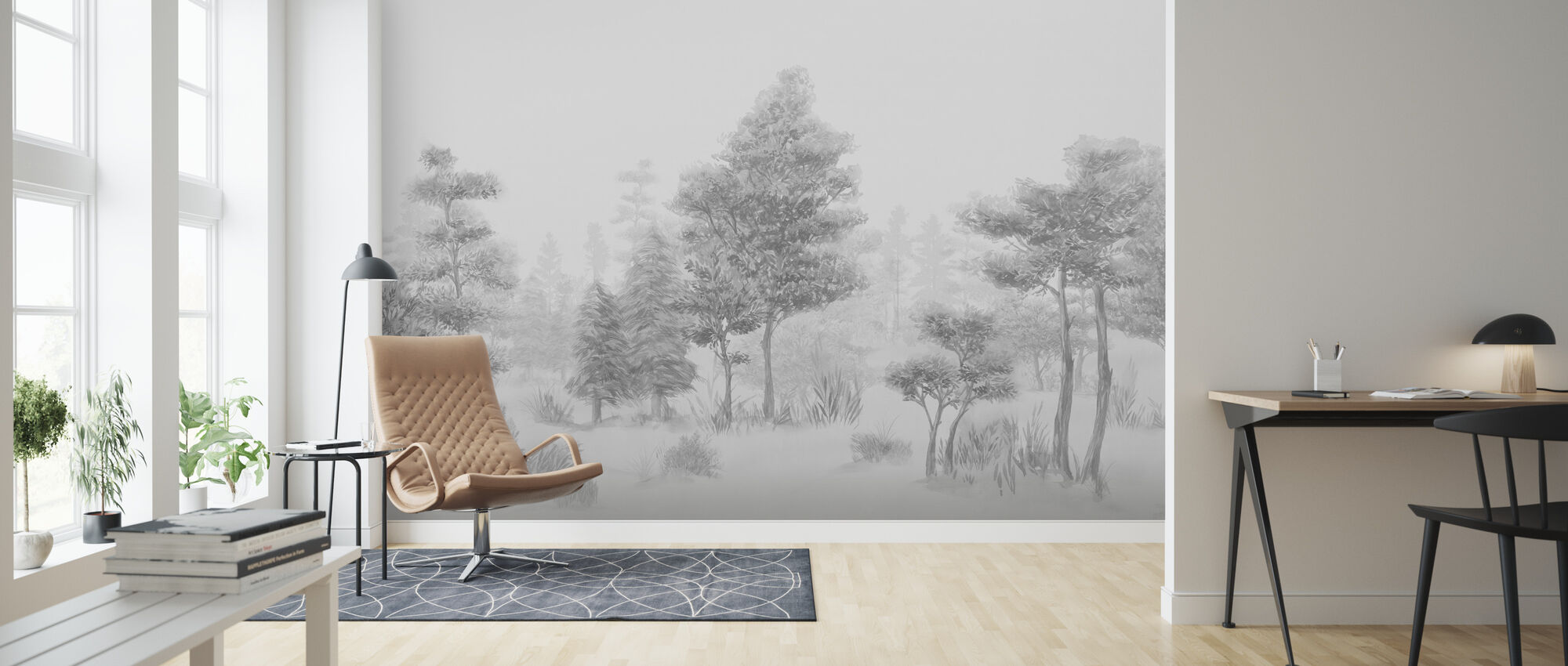 Bohemian Forest - Bw - Wallpaper - Living Room