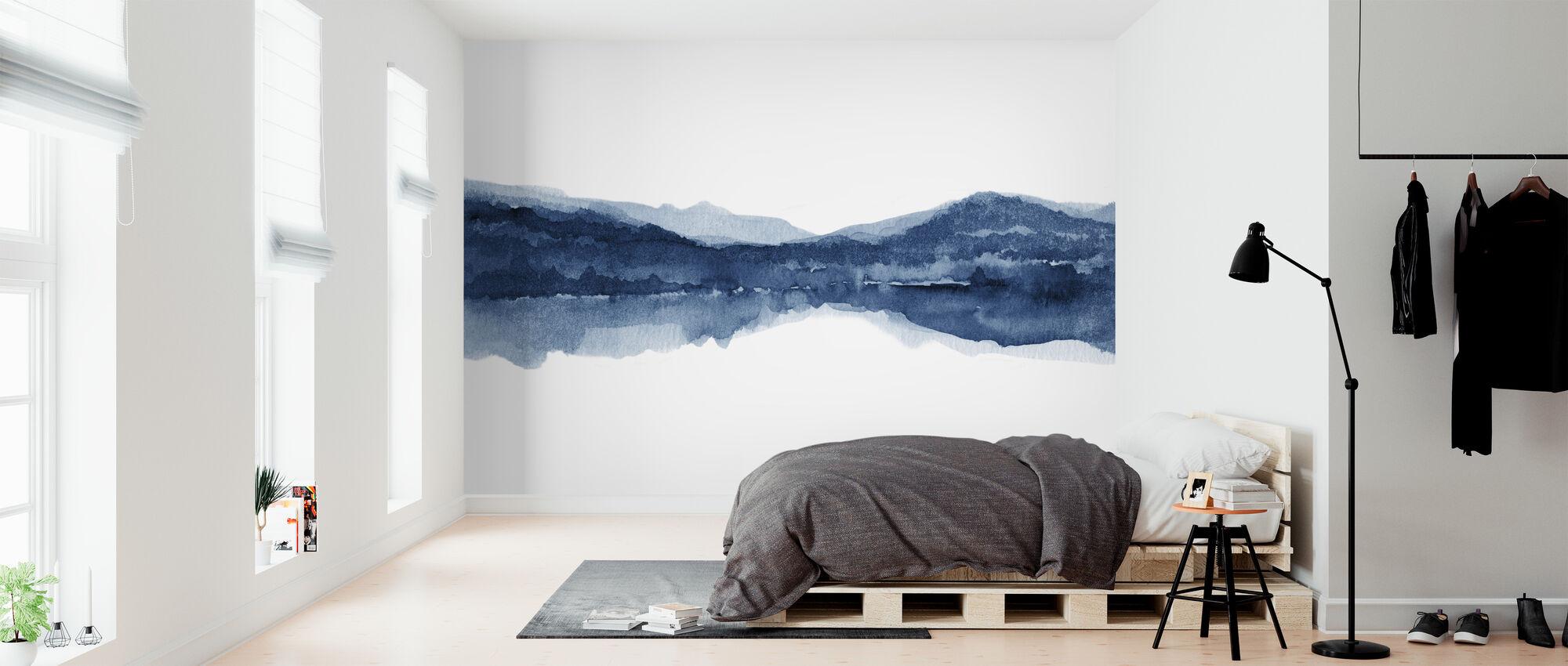 Akvarelli Maisema II - Tummansininen - Tapetti - Makuuhuone
