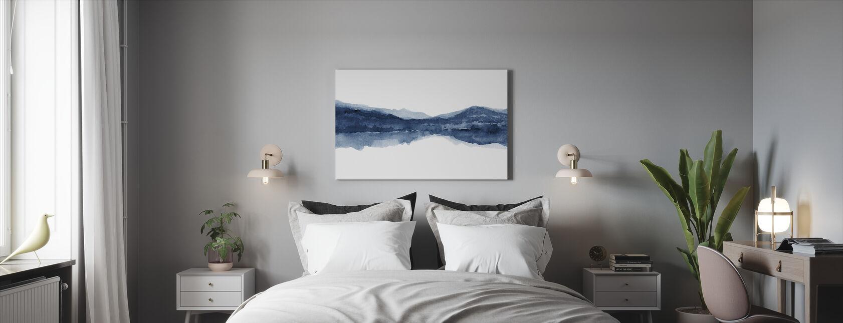 Watercolor Landscape II - Navy Blue - Canvas print - Bedroom