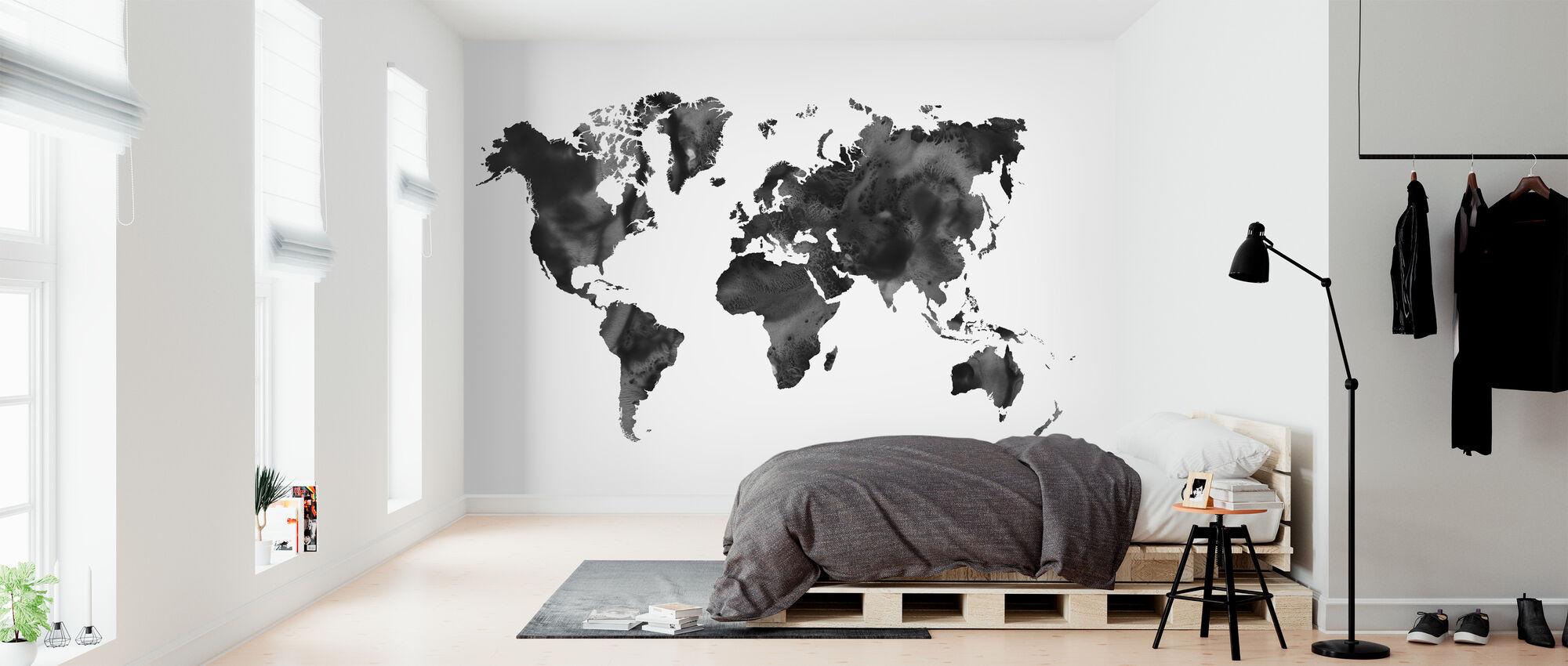 Akvarell verdenskart svart - Tapet - Soverom