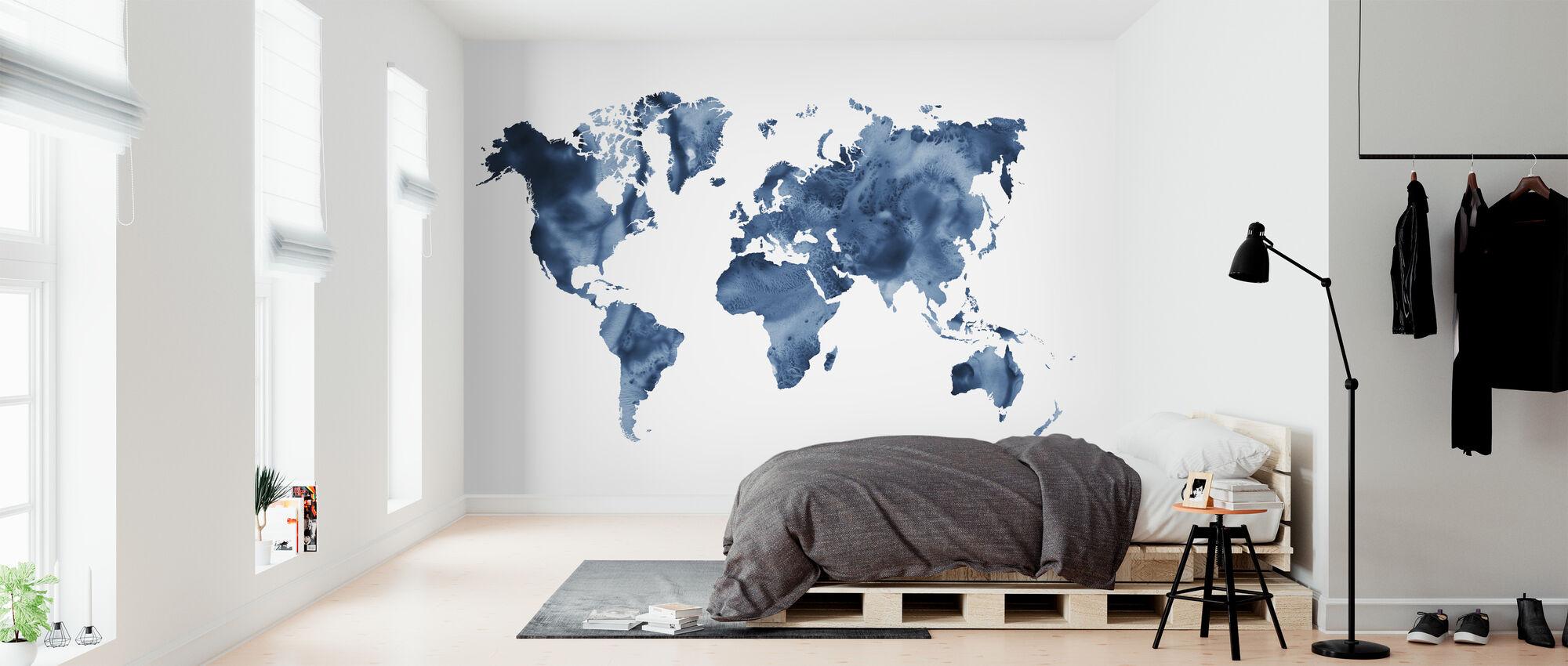 Watercolor World Navy Blue - Wallpaper - Bedroom