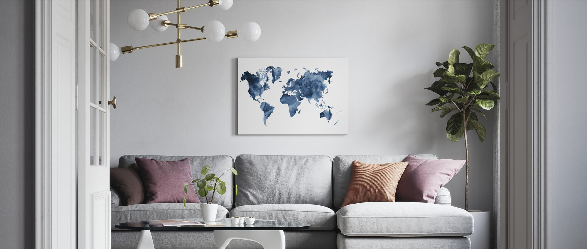 Watercolor World Navy Blue - Canvas print - Living Room
