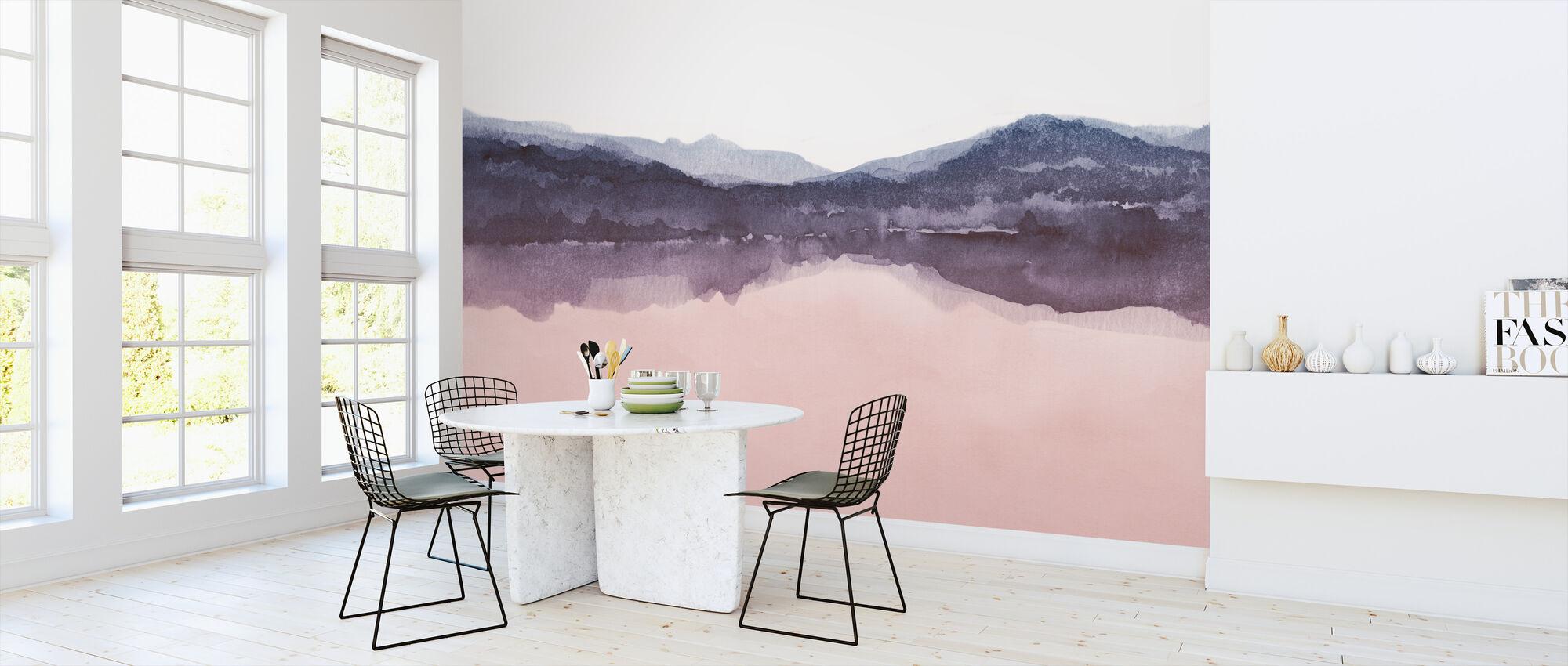 Akvarelli Maisema IV - Vaaleanpunainen ja sininen - Tapetti - Keittiö