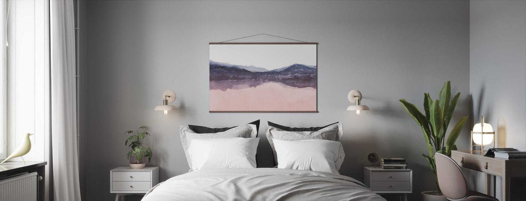 Watercolor Landscape IV - Pink and Blue - Poster - Bedroom
