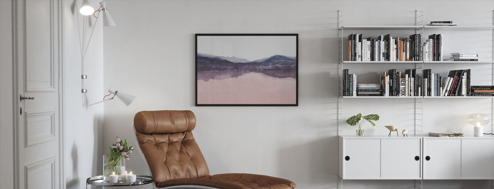 Watercolor Landscape IV - Pink and Blue - Framed print - Living Room