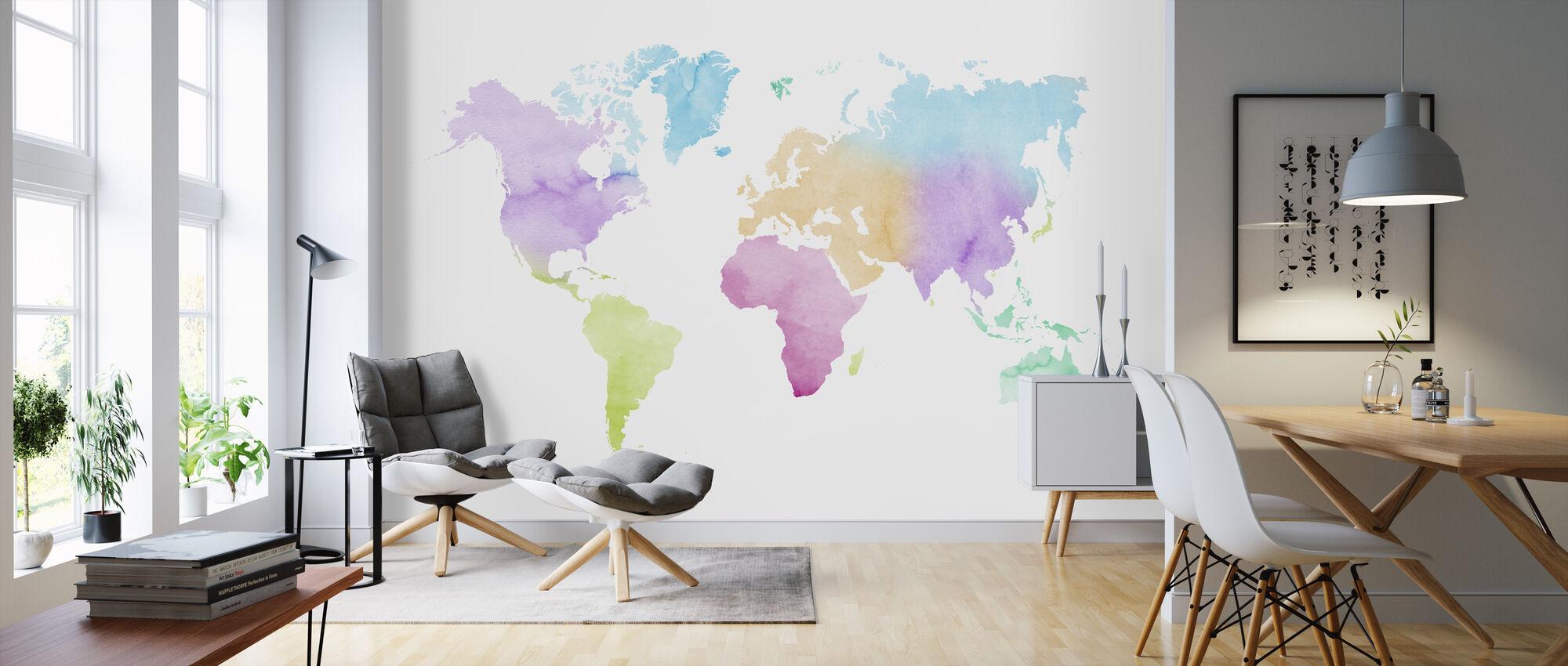 Akvarell verden flerfarget - Tapet - Stue