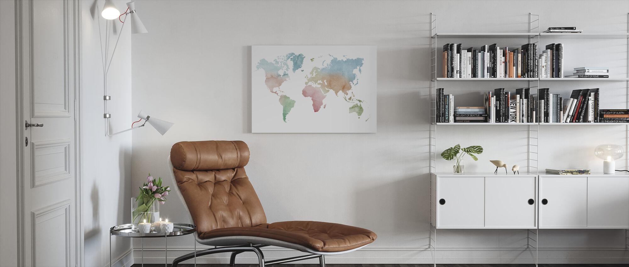 Akvarell verden pastellfarger - Lerretsbilde - Stue