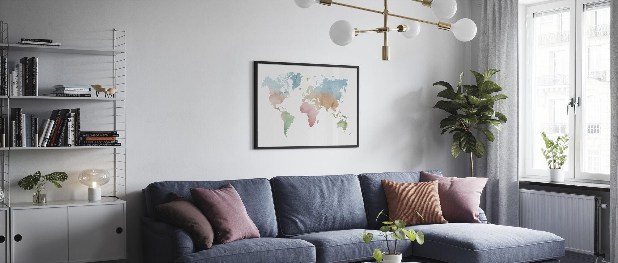 Akvarell verden pastellfarger - Innrammet bilde - Stue