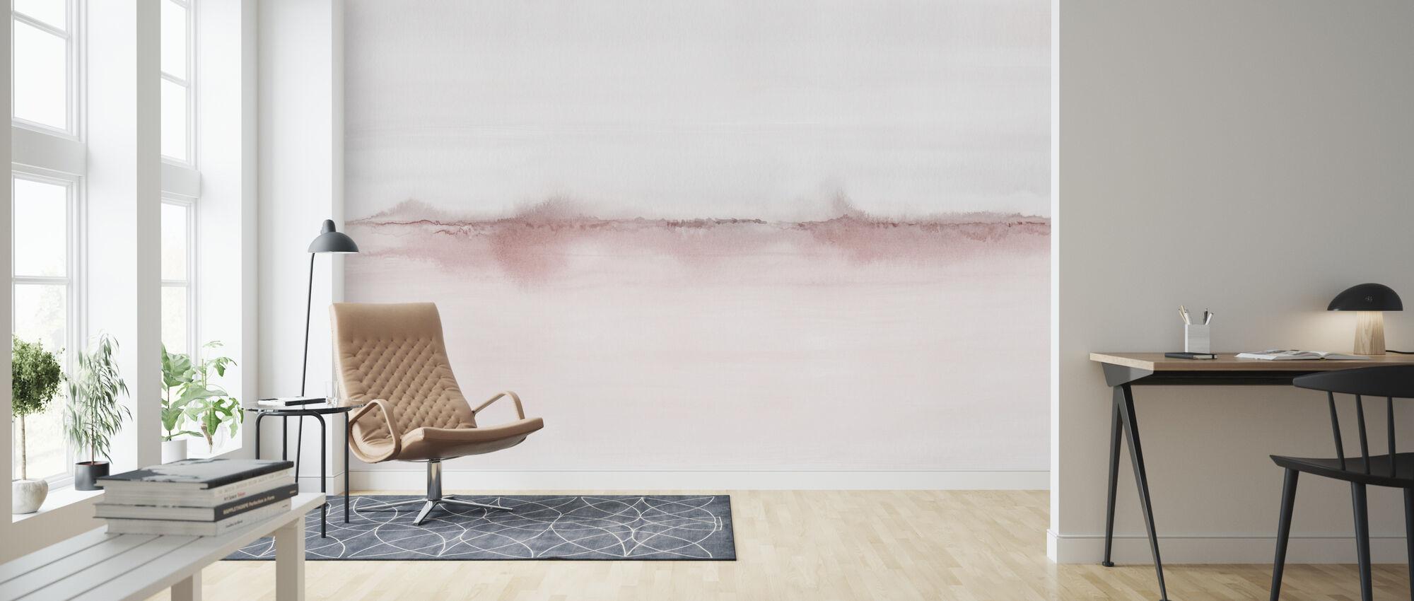 Watercolor Landscape VI - Pink and Gray - Wallpaper - Living Room
