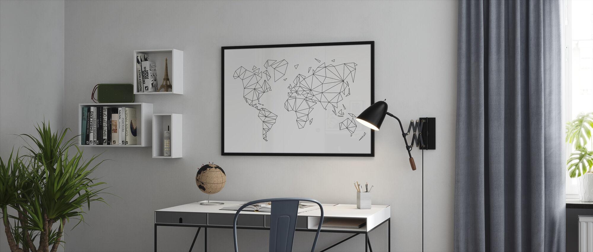 Geometric World Map Black - Framed print - Office