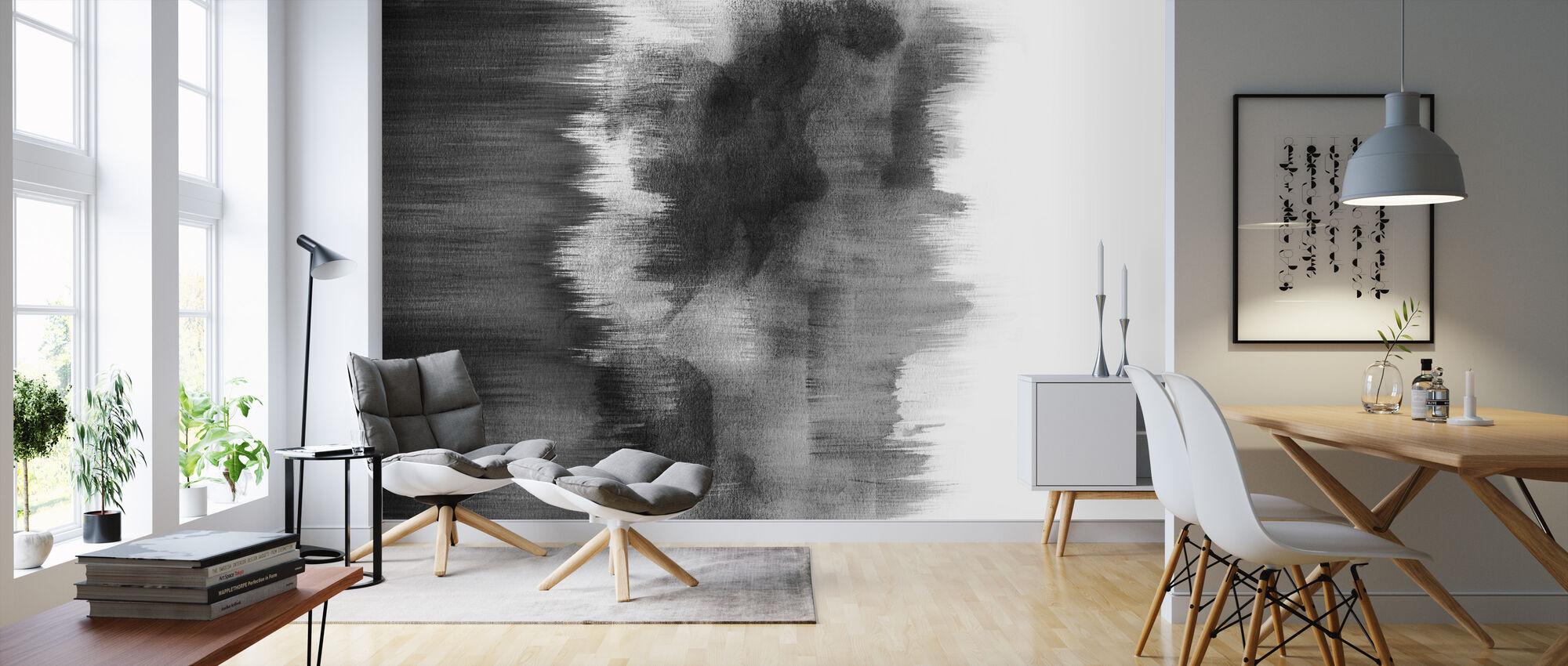 Akvarelli Siveltimen vedot Musta - Tapetti - Olohuone