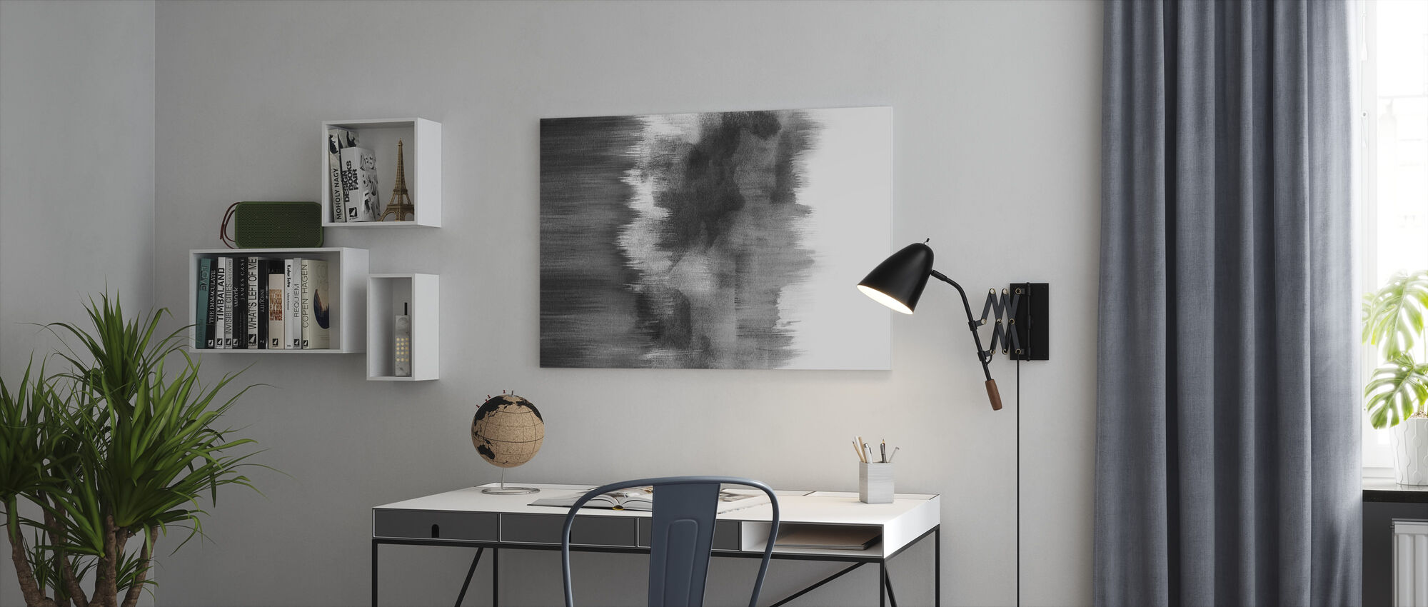 Watercolor Brush Strokes Black - Canvas print - Office