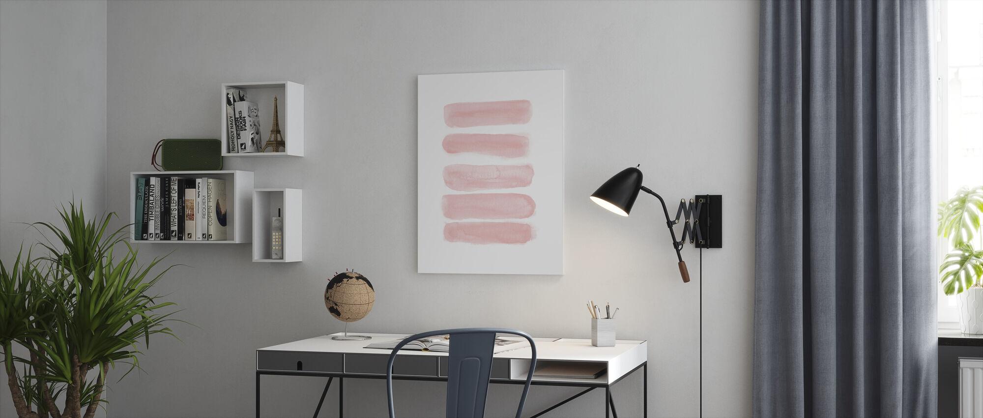 Akvarelli aivohalvauksia pehmeä vaaleanpunainen - Canvastaulu - Toimisto