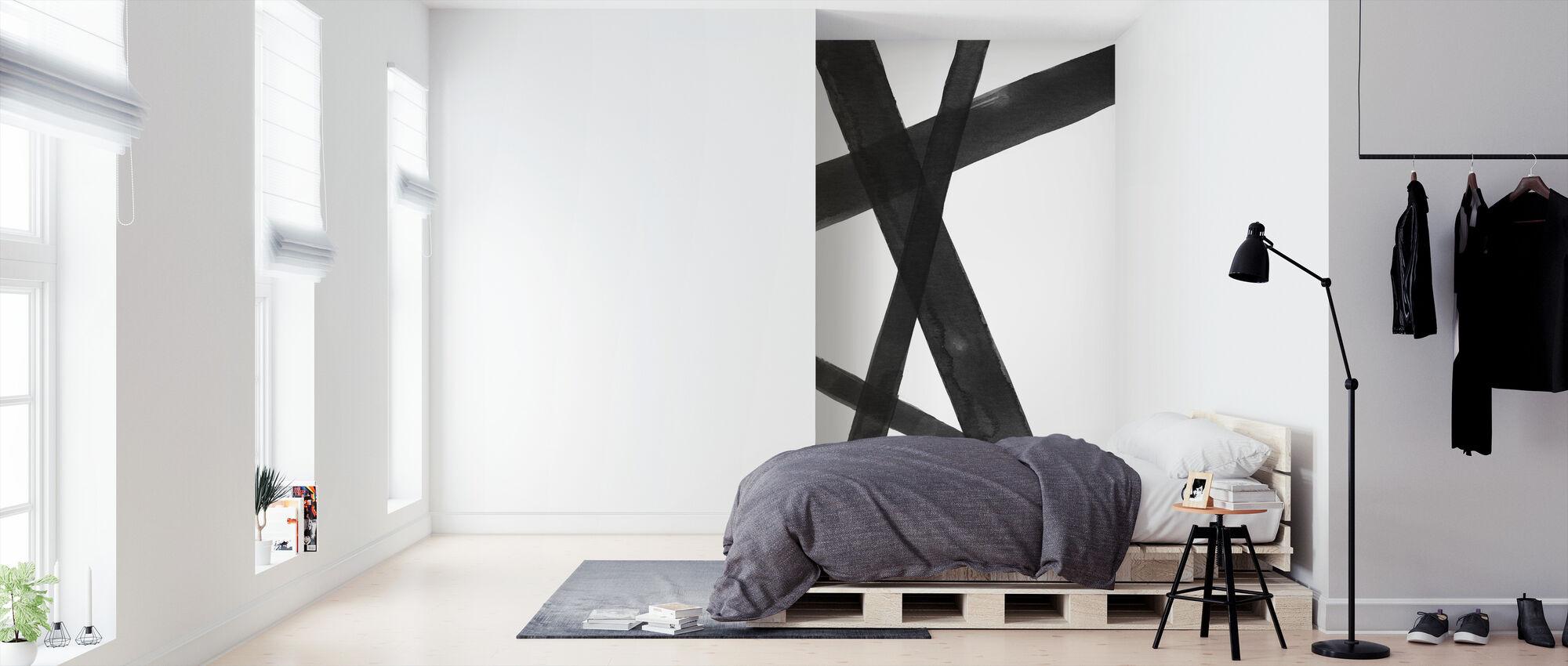 Watercolor Lines I Black - Wallpaper - Bedroom