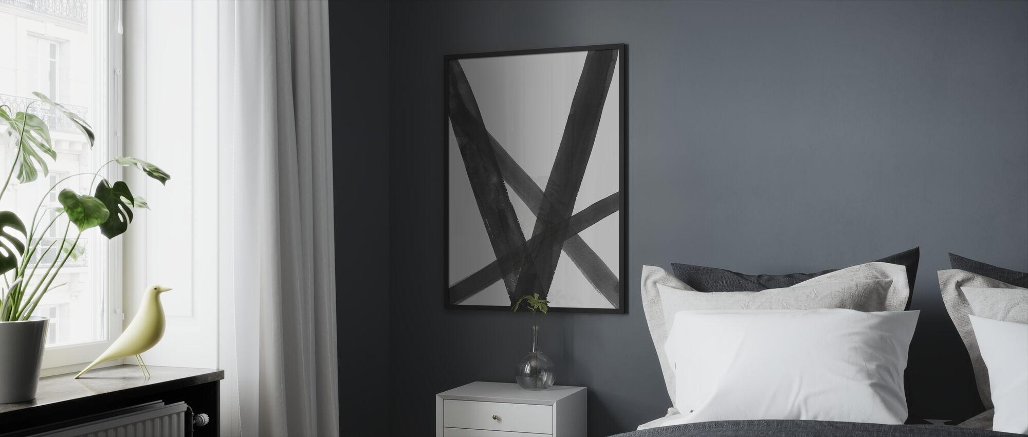 Watercolor Lines II Black - Framed print - Bedroom