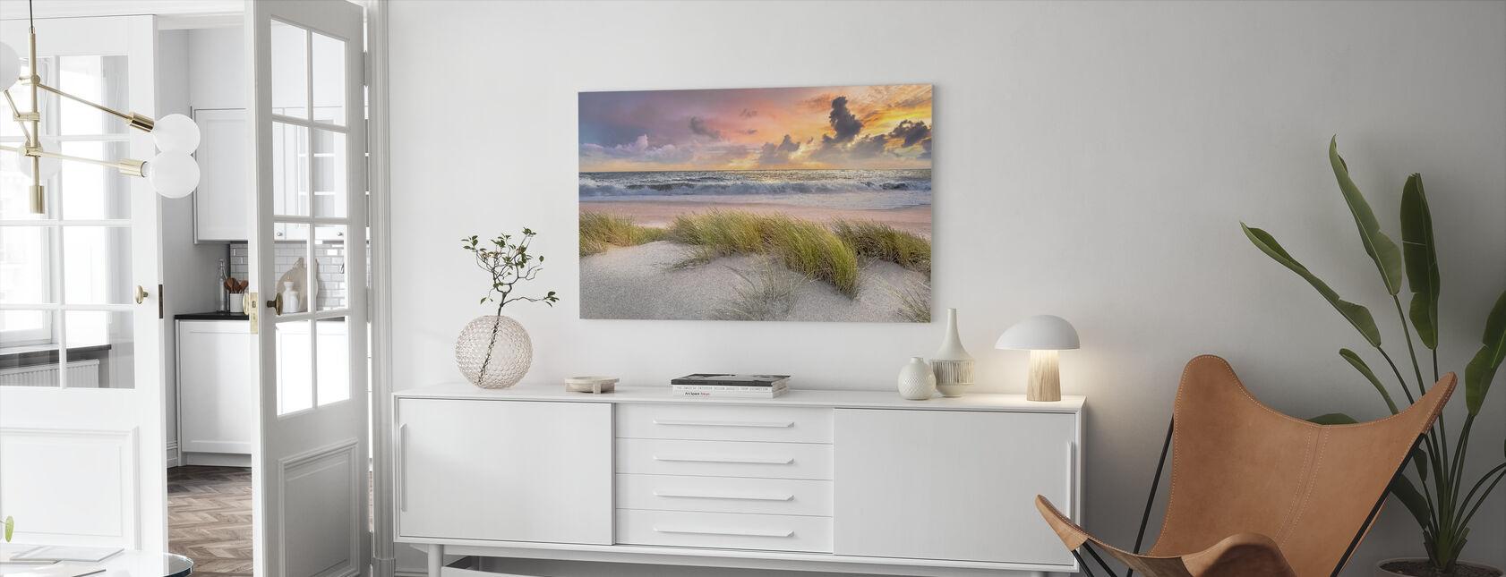 Gras in Strand Zand - Canvas print - Woonkamer