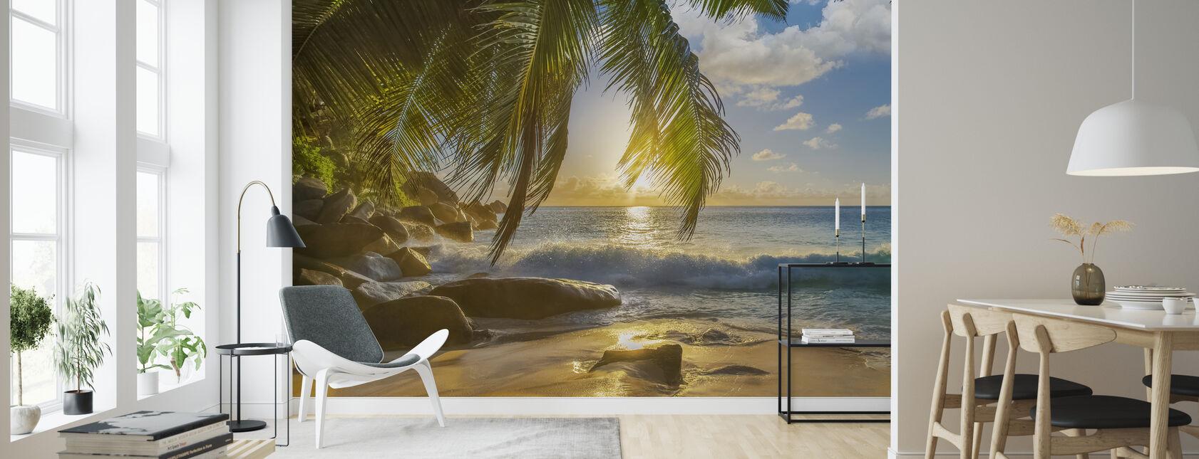 Beach Rocks Waves - Wallpaper - Living Room